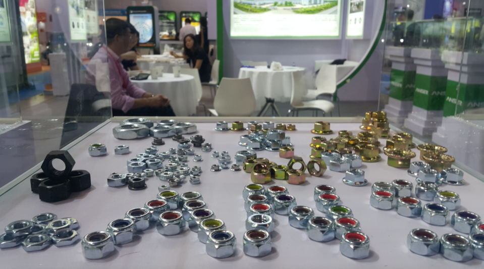 A display case at a nut and bolt industry fair in Shanghai in October 2018.
