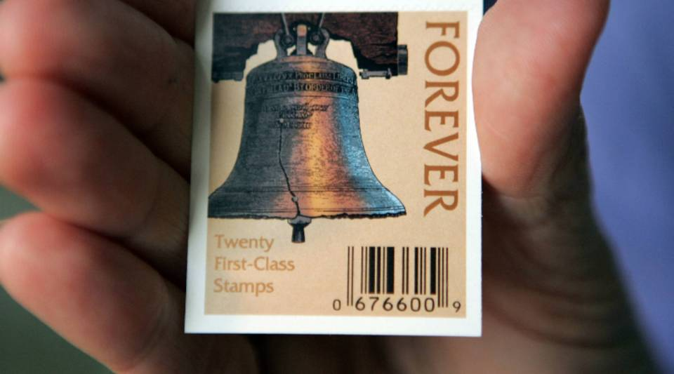 """""""Forever"""" first-class stamps."""