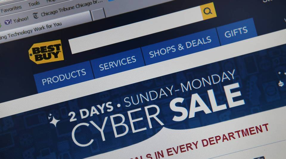 In this photo illustration, electronics retailer Best Buy advertises Cyber Monday sales on the store's website in 2012. Limited sales can be an effective way to replicate the conditions that lead to impulse spending online.