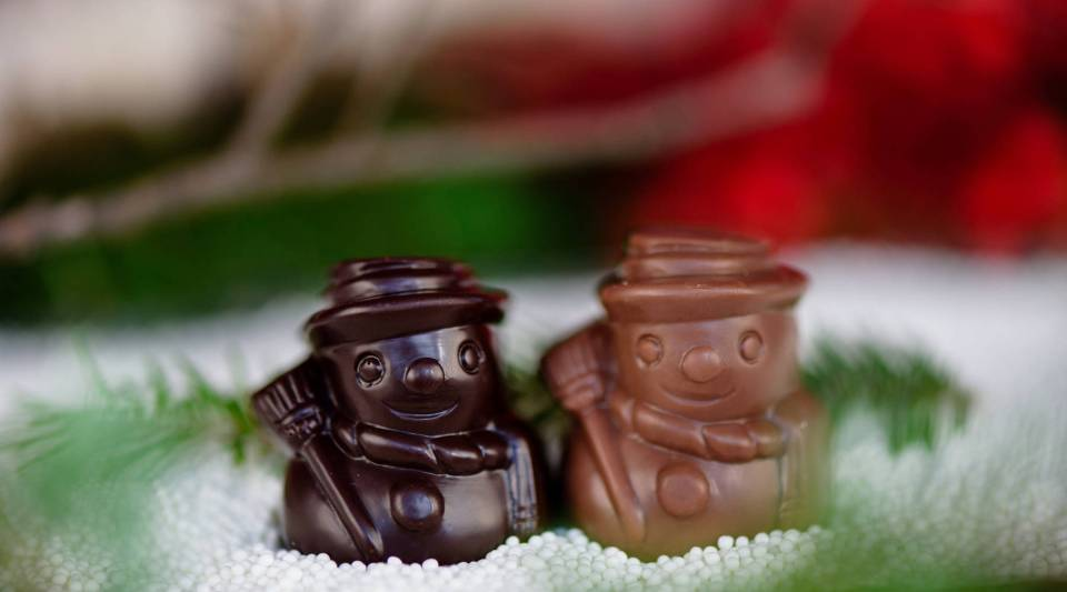 Two holiday-themed chocolates from Dean's Sweets, Kristin Thalheimer Bingham's store in Portland, Maine.