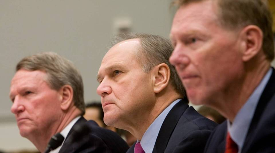 From left, G. Richard Wagoner Jr., CEO of General Motors; Robert Nardelli, CEO of Chrysler; and Alan Mulally, CEO of Ford, testify at a hearing on the U.S. auto industry on Capitol Hill on Dec. 5, 2008. GM and Chrysler were bailed out with TARP funds; Ford  received other federal assistance.