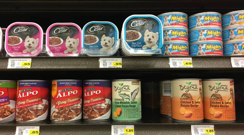 Purina offers canned dog food at different price points. Alpo costs 85 cents a can at a Kansas City grocery store, while the company's premium product, Beyond, is $1.85.