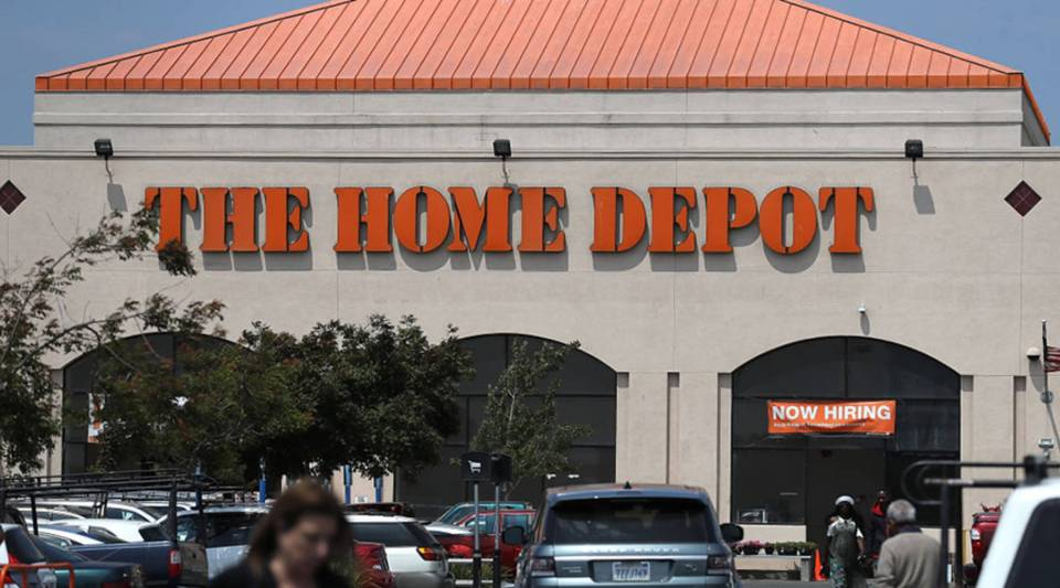 A sign is posted in front of a Home Depot store on Aug. 14, 2018 in El Cerrito, California.