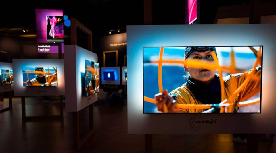 Philips Ambilight displays are seen at the Philips stand during a preview day of the IFA, the world's leading trade show for consumer electronics and home appliances, in Berlin on August 30, 2018.