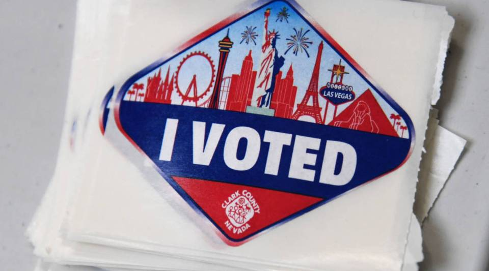 """Las Vegas Strip-themed """"I Voted"""" stickers are displayed on the first day of early voting at the Meadows Mall on Oct. 20, 2018 in Las Vegas, Nevada."""