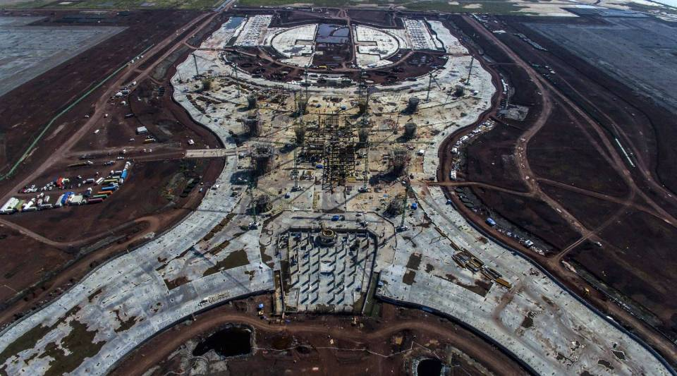 Aerial view of the construction site of Mexico City's new airport, in Texcoco, Mexico, on November 6, 2018.