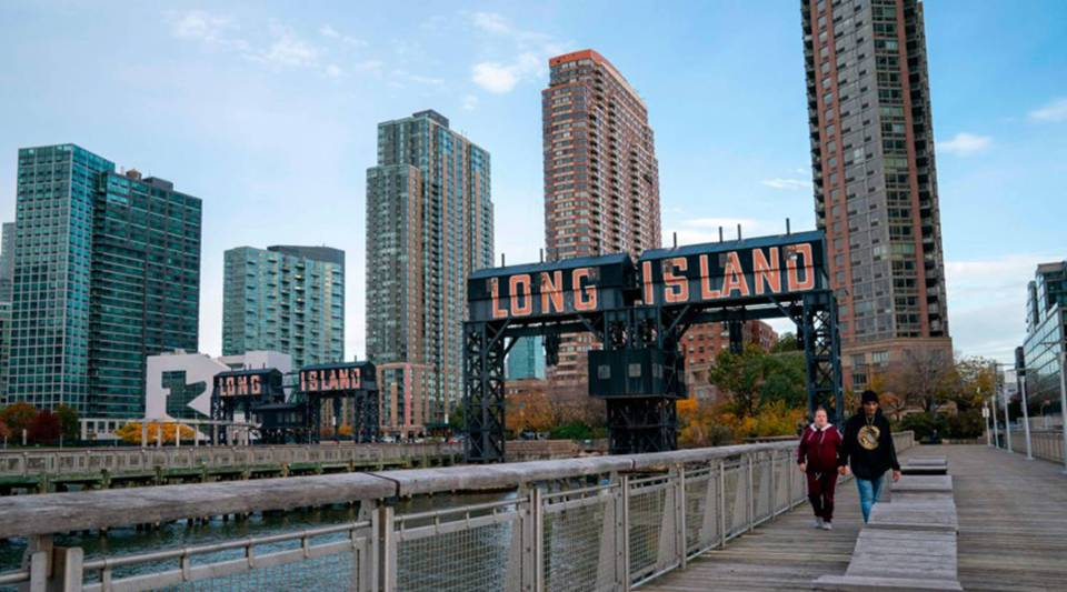 A view of the waterfront of Long Island City in the Queens borough of New York, along the East River.