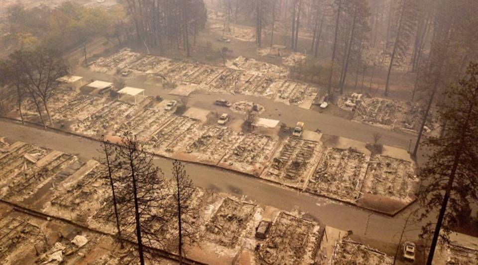In this aerial photo, a burned neighborhood is seen in Paradise, California, on Nov. 15, 2018. The toll in the deadliest wildfires in recent California history climbed to 59 on Nov. 14, 2018, as authorities released a list of 130 people still missing.
