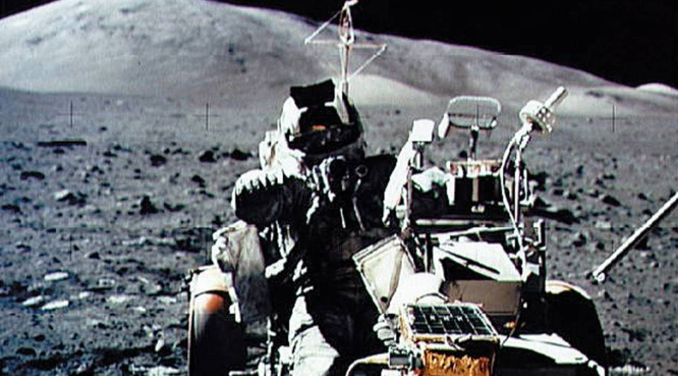 A NASA picture taken by U.S. crew commander Eugene A. Cernan on Dec. 13, 1972, shows astronaut and geologist Harrison H. Schmitt seated in the Lunar Roving Vehicle. The last manned U.S. spacecraft to touch down on the moon was Apollo 17.
