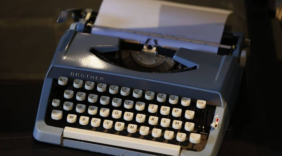 A typewriter is displayed at Massilia Vintage international fashion and design fair in southeastern France, no September 26, 2015.