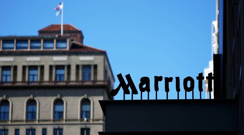 A sign is posted in front of a Marriott hotel on November 16, 2015 in San Francisco, California.