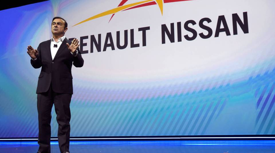 Nissan chairman Carlos Ghosn delivers a keynote address at CES 2017 at the Westgate Las Vegas Resort & Casino on Jan. 5, 2017 in Las Vegas, Nevada.