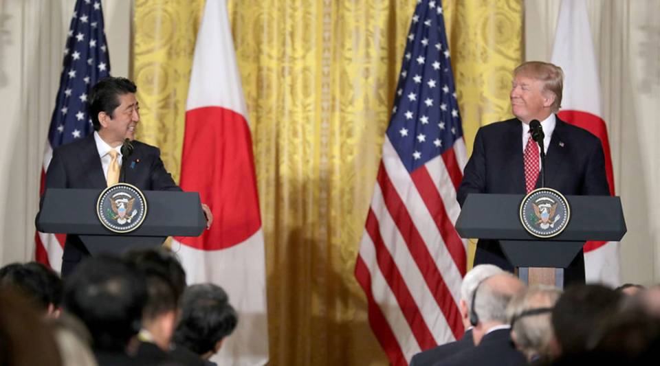 U.S. President Donald Trump and Japanese Prime Minister Shinzo Abe hold a joint news conference in the East Room at the White House Feb. 10, 2017 in Washington, D.C.