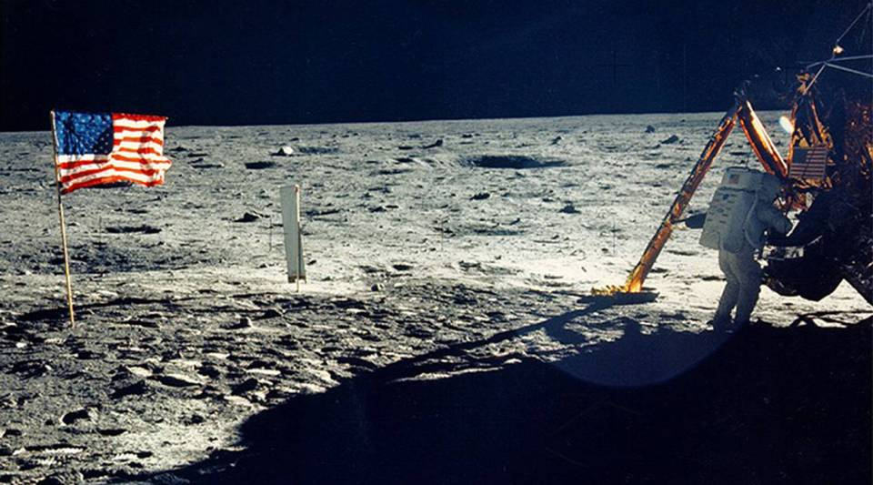 One of the few photographs of Neil Armstrong on the moon shows him working on his space craft on the lunar surface. The 30th anniversary of the Apollo 11 Moon landing mission is celebrated July 20, 1999.