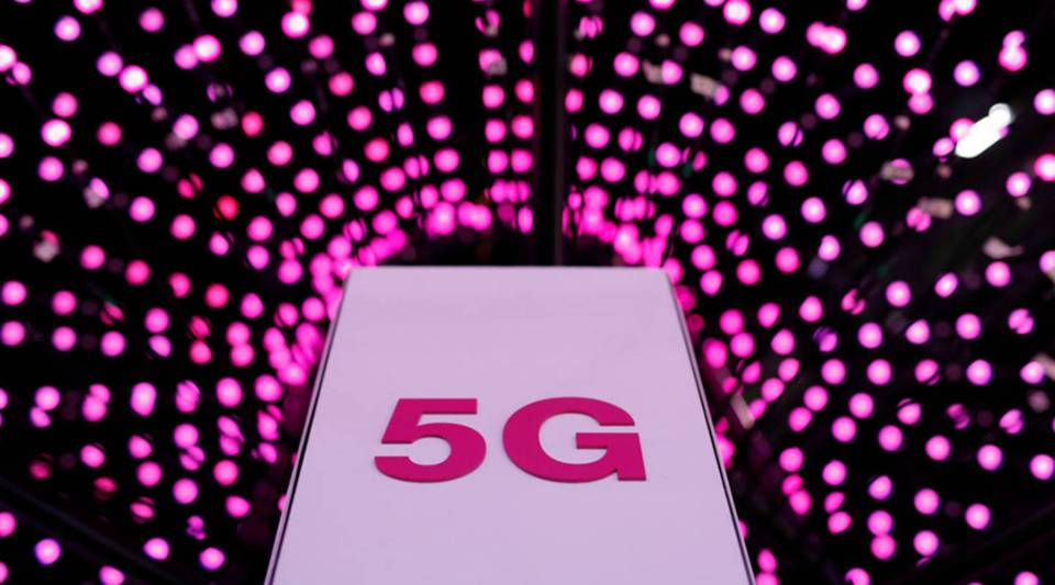 Picture shows a 5G antenna at Deutsche Telekom stand on the first day of the Mobile World Congress (MWC) on February 26, 2018 in Barcelona.