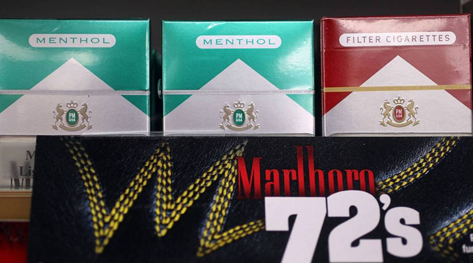 Menthol cigarettes are seen for sale on a shelf at a Quick Stop store on March 30, 2010 in Miami, Florida.