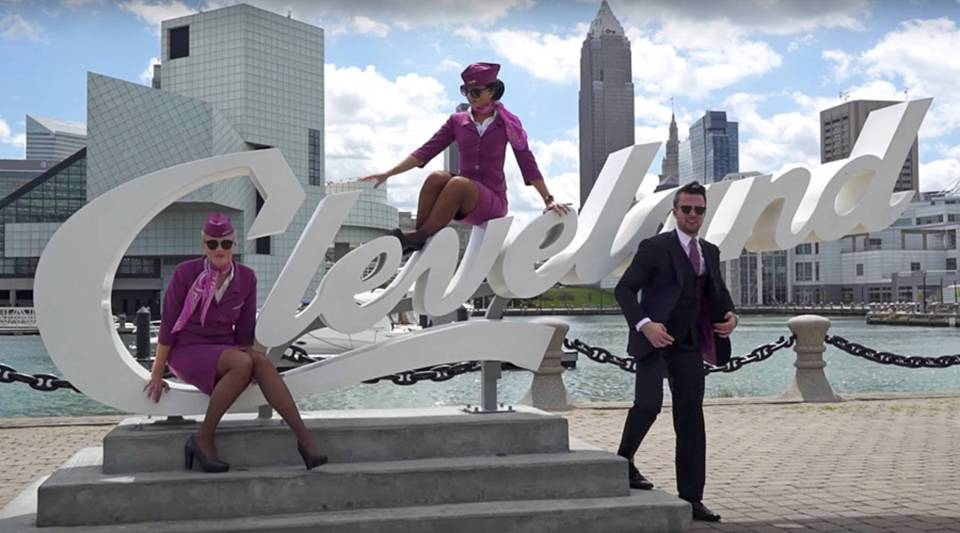 A scene from a WOW air promotional video commemorating the start of service to/from Cleveland Hopkins Airport this past May. Less than six months later, WOW air announced that it was pulling out of Cleveland.