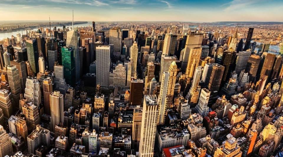 A panoramic aerial view of Midtown Manhattan, New York City.