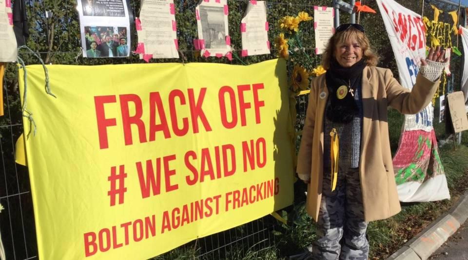 Anti-fracking protester Julie Daniels standing outside the fracking site in Little Plumpton, Lancashire.