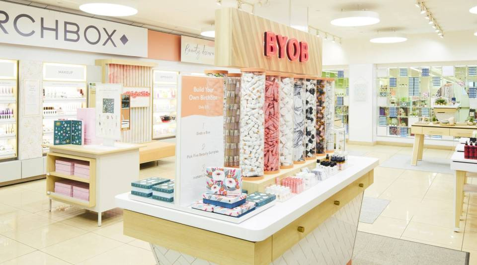 Birchbox's new display inside the Duane Reade at 40 Wall St in New York. The subscription box company opened them at several Walgreen's and Duane Reade locations in December 2018, with more to come in 2019.