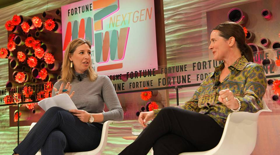 """""""We take privacy and security very seriously,"""" Toni Reid, right, of Amazon, told Molly Wood last week at Fortune's Most Powerful Women Next Gen conference in Laguna Niguel, California."""