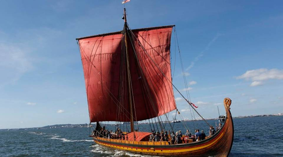 Was woolen sailcloth the secret weapon of the Vikings? Above, the Draken Harald Harfagre, a reconstruction of a Viking longship.