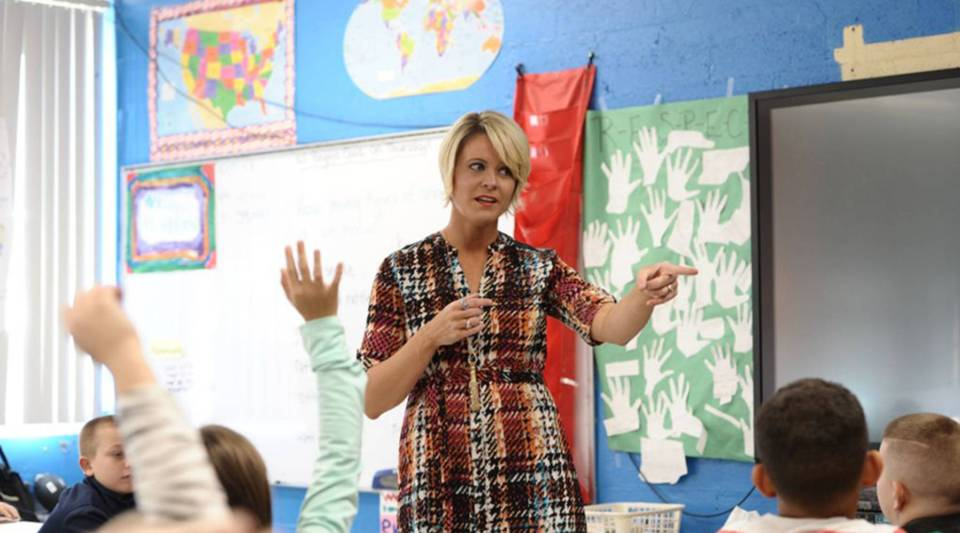 Amy Grady, who ran as an independent for a seat in the West Virginia state Senate, teaches in her classroom at Leon Elementary on Oct. 18, 2018 in Leon, West Virginia.  West Virginia teachers went on strike this year demanding higher pay and better health care.