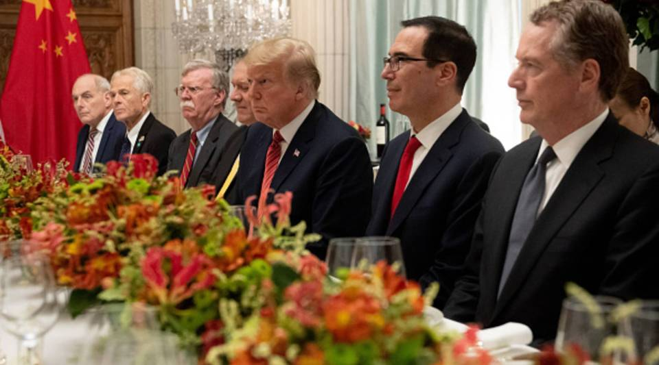 President Donald Trump, U.S. Secretary of the Treasury Steven Mnuchin, U.S. Trade Representative Robert Lighthizer along with members of their delegation hold a dinner meeting with China's President Xi Jinping at the end of the G20 Leaders' Summit in Buenos Aires, on Dec. 1, 2018.