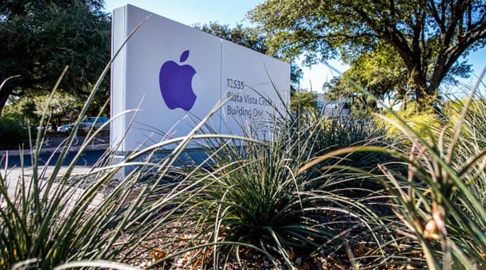 A sign for an Apple Inc. campus on Riata Vista Circle is seen on Dec. 13, 2018 in Austin, Texas. Apple announced it will be spending $1 billion on a new campus in North Austin that will initially employ 5,000 and potentially increase to 15,000 workers.