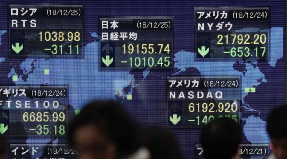 Pedestrians walk past a stock indicator board showing the share price index of the Tokyo Stock Exchange in Tokyo on Dec. 25, 2018.