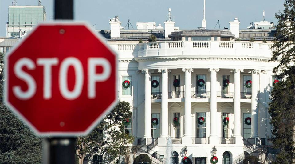 A stop sign is seen near the White House during a government shutdown in Washington, D.C., in December.