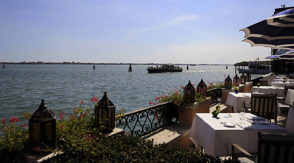 The canal in front of the Hotel Cipriani in the Venice lagoon in 2014.