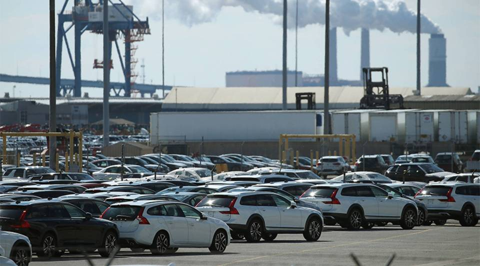 New foreign cars are seen parked at the Dundalk Marine Terminal on March 9, 2018 in Baltimore, Maryland.