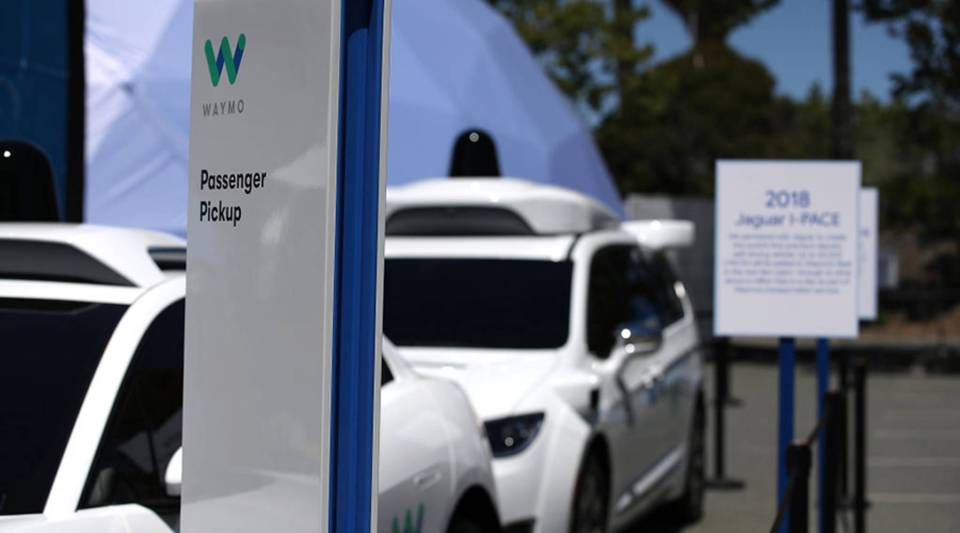 Waymo self-driving vehicles are displayed at the Google I/O 2018 Conference at Shoreline Amphitheater in  Mountain View, California, in May.