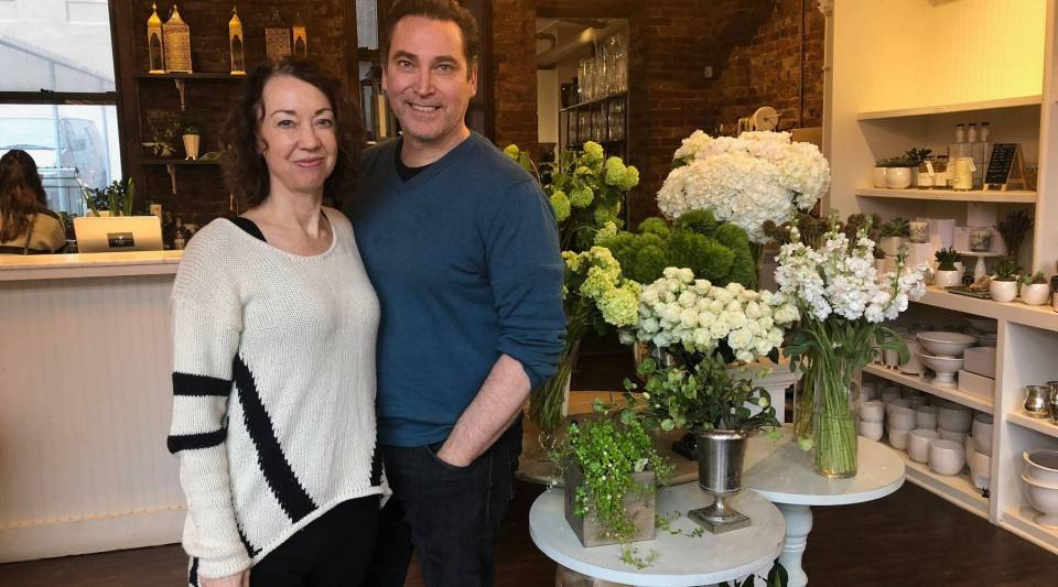 Christine and Patrick Hall, owners of Élan Flowers in Manhattan's Soho neighborhood.