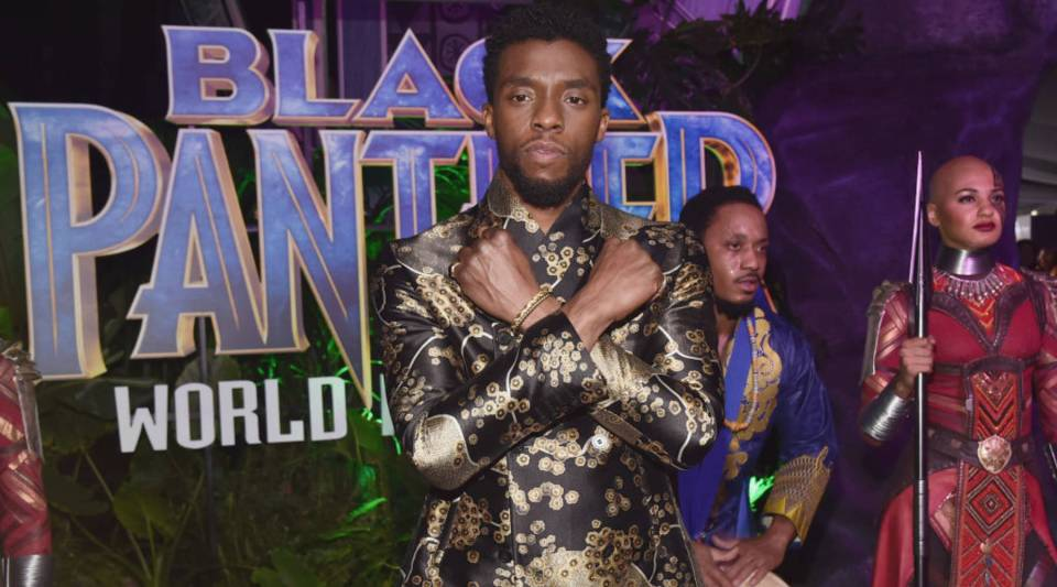 "Actor Chadwick Boseman at the Los Angeles World Premiere of Marvel Studios' ""Black Panther."""