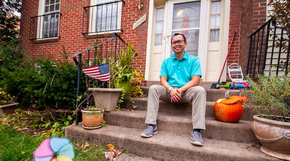 "Nguyen Do, 38, in front of the house he thought would be his ""starter home,"" in Vienna, Virginia."