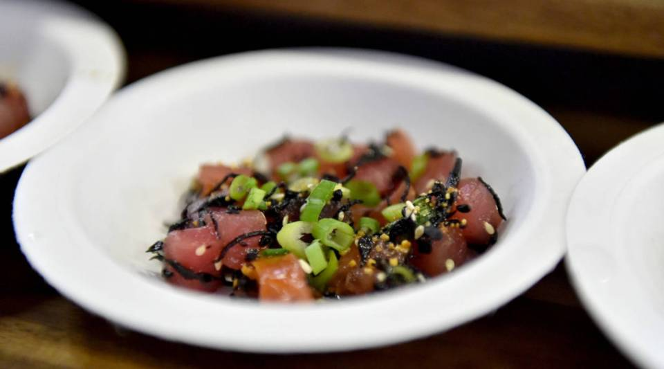 A poke dish prepared for a Food Network festival in New York City.
