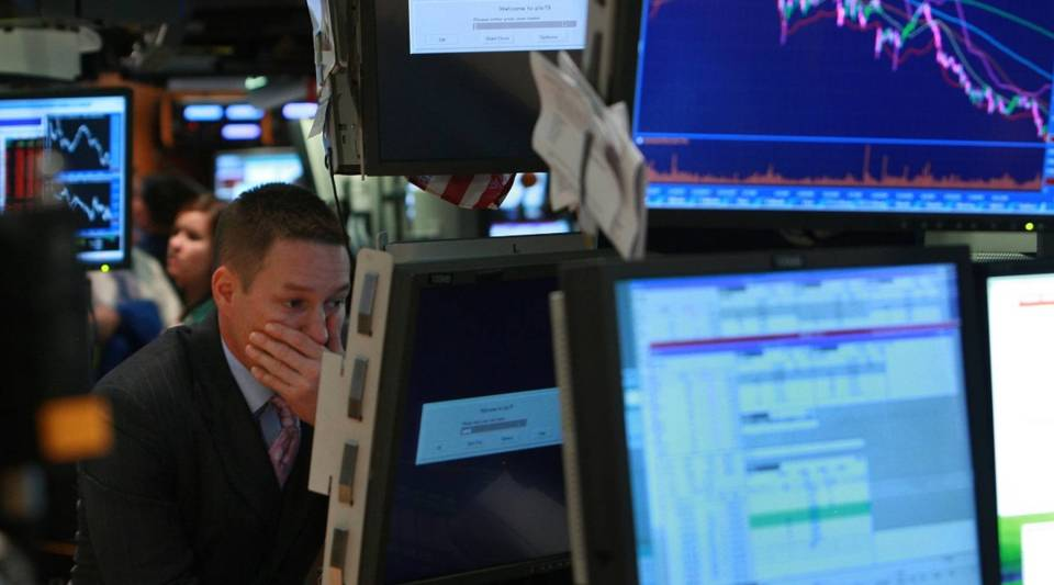 A trader working on the floor of the New York Stock Exchange on Sept. 15, 2008 in New York City.