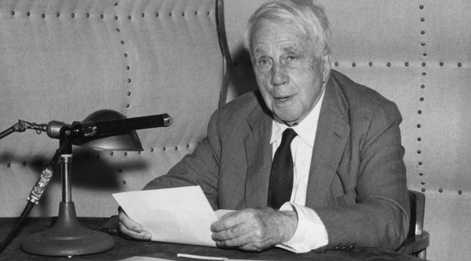 """American poet Robert Frost, taken about 1963. His """"Stopping by Woods on a Snowy Evening"""" will be in the public domain Jan. 1."""