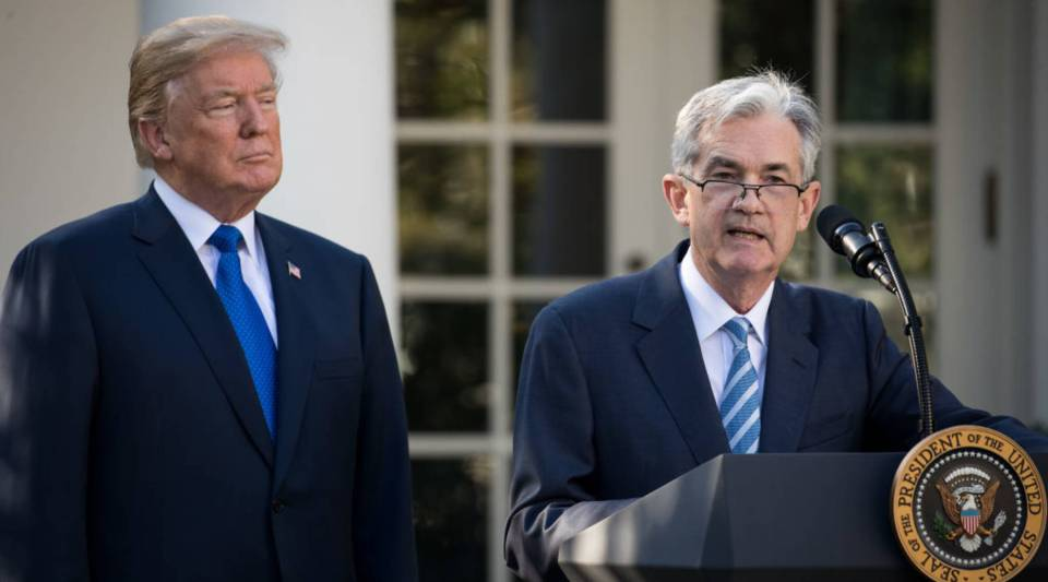 President Donald Trump looks on as his nominee for the chairman of the Federal Reserve, Jerome Powell, speaks during a press event at the White House last year.