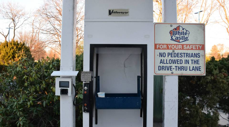 The drive-thru machine at the Commack, New York, White Castle is causing problems, but the store put renovations on hold because of the retail glitch in the tax law.