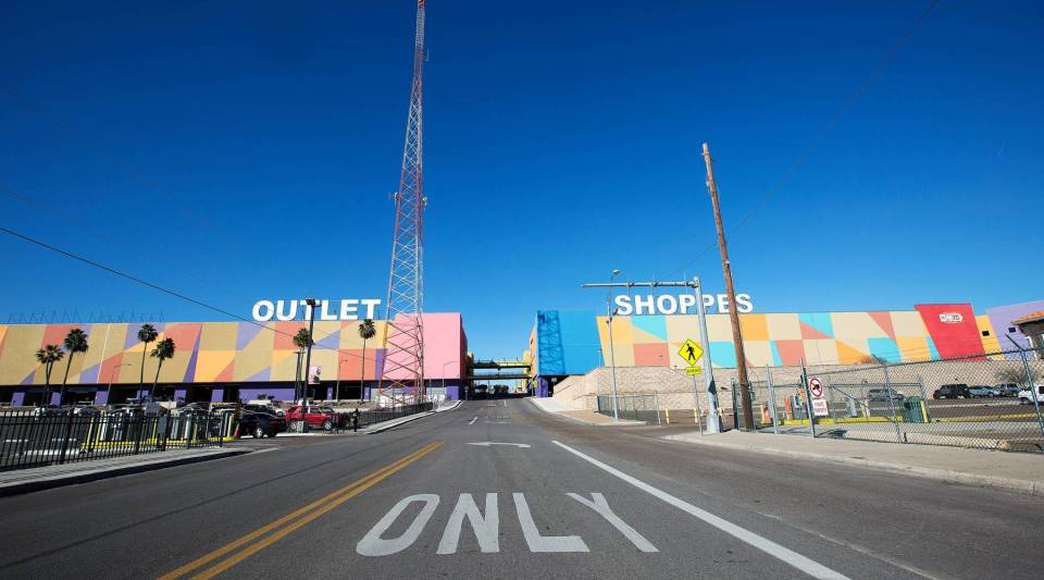 People driving across the border from Nuevo Laredo, Mexico are greeted by a massive outlet mall, Outlet Shoppes at Laredo in Laredo, Texas, that sells everything from sneakers and T-shirts to kitchenware and iPhones, shown here on Monday, Jan. 28, 2019.