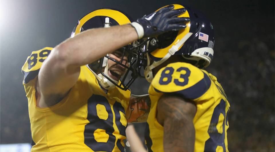Los Angeles Rams teammates Josh Reynolds #83 and Tyler Higbee #89 celebrate a touchdown during the highest-scoring Monday Night Football game ever on November 19, 2018.