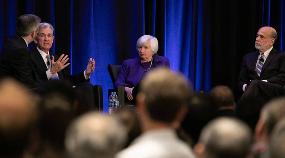 Federal Reserve Chair Jerome Powell, left, and former chairs Janet Yellen and Ben Bernanke participate in a panel discussion at the American Economic Association conference on Jan. 4 in Atlanta.