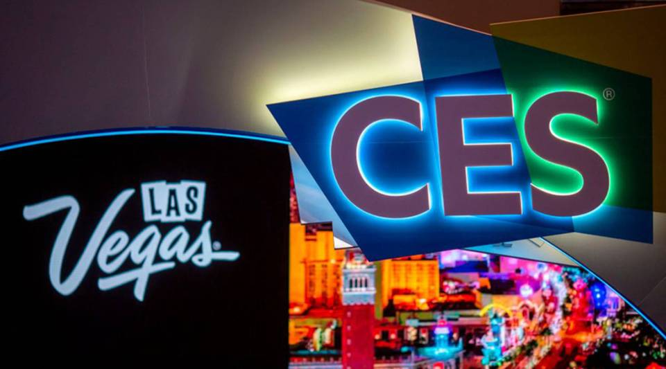 The CES logo is seen inside the Las Vegas Convention Center during CES 2019 in Las Vegas on January 8, 2019.