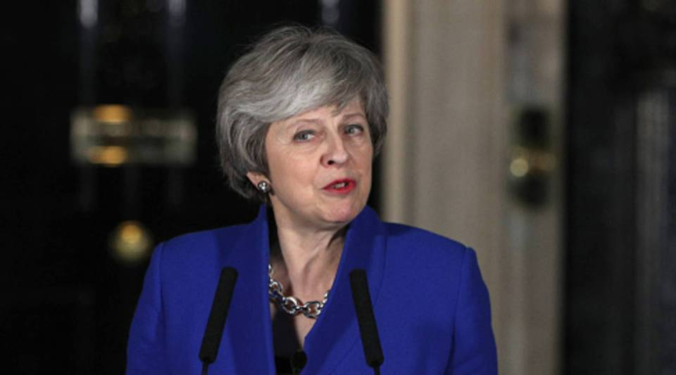 Prime Minister Theresa May addresses the media after her government defeated a vote of no confidence in the House of Commons on Jan. 16, 2019 in London, England.