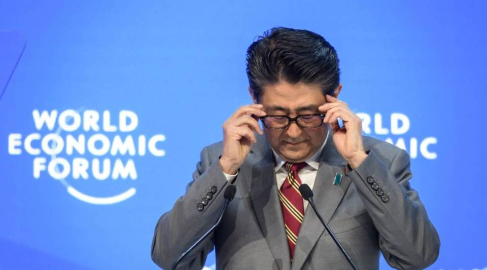 Japanese Prime Minister Shinzo Abe delivers a speech during the World Economic Forum annual meeting, on Jan. 23, 2019 in Davos, eastern Switzerland.
