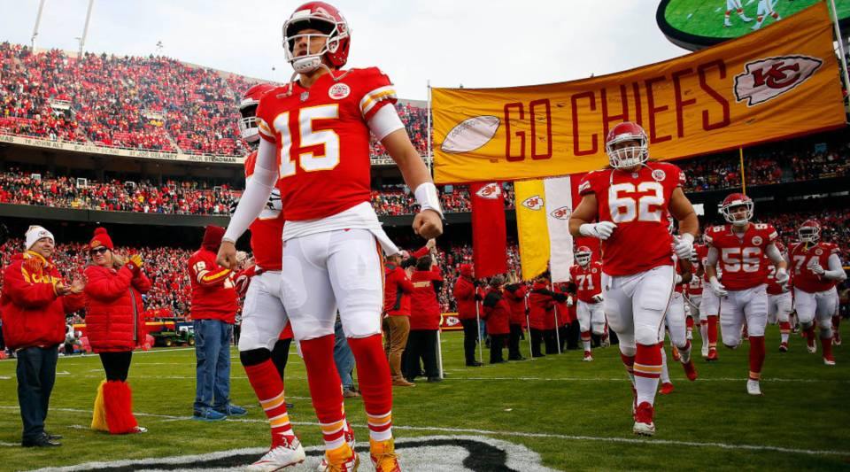 Quarterback Patrick Mahomes #15 of the Kansas City Chiefs during player introductions prior to the game against the Oakland Raiders at Arrowhead Stadium on December 30, 2018 in Kansas City, Missouri.
