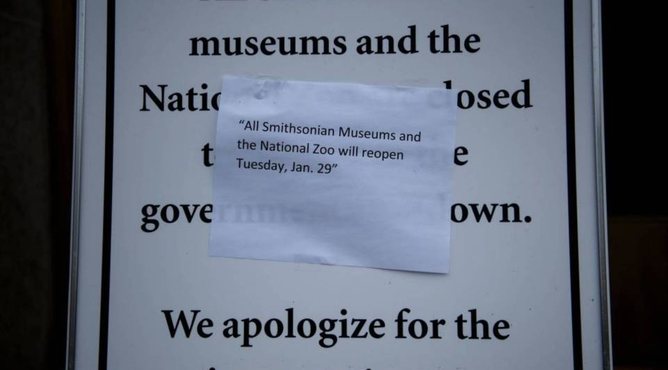 A sign outside the Smithsonian American History Museum in Washington, D.C. on Jan. 27.